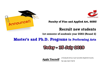 Announce!! Recruit new students 2019 - master and PhD in Performing Arts